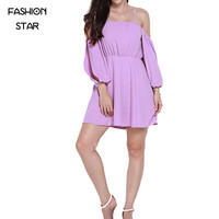 Purple Spaghetti Strap Vestidos Long Sleeve Dresses Round Neck Mini Summer Vestido Woman 2016 Mini Vestido Plus Size