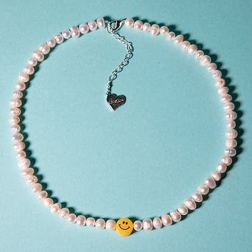 Pearl Smiley Face Necklace