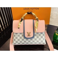 LV Louis vuitton casual lady printed patchwork color with silk scarf handbag cross shoulder bag
