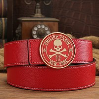 Philipp Plein Women Men Fashion Smooth Buckle Belt Leather Belt