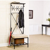 Wall Mount Hall Tree with Cushion 12 Hooks Entryway Furniture Matte Black New