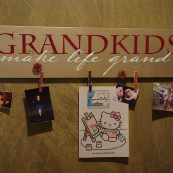 Grandkids make life grand, Grandparents, Gifts for mom, Gifts for Grandma, wood sign, by Otrengraving on Etsy