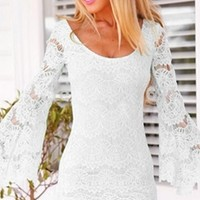 White Sheer Lace Long Bell Sleeve Scoop Neck Bodycon Mini Dress