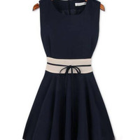 Blue Sleeveless Sheath Mini Skater Dress
