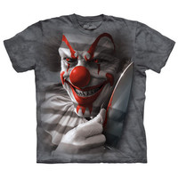 Scary CLOWN CUT Big Face The Mountain Stephen King It Knife T-Shirt S-3XL NEW