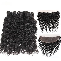 Brazilian Water Wave Ear To Ear Lace Frontal Closure With Bundles
