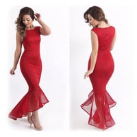 Womens Sexy Fishtail Lace Bodycon Gown Party Dress