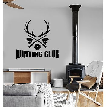 Vinyl Wall Decal Hunting and Fishing Club Guns Horn Deer Stickers (3800ig)