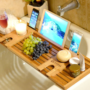 ROYAL CRAFT WOOD Natural Bamboo Bathtub Caddy Bath Tub or Serving Tray Organizer for 2: Him and Her.Valentine's Day