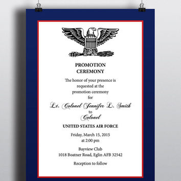 Military Style Promotion Recognition Elegant Professional Patriotic Invitation United States Air Force Navy Marines Army Coast Guard