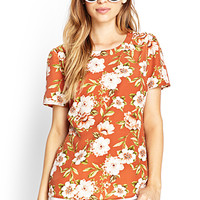 FOREVER 21 Botanical Floral Woven Top Rust/Cream Large