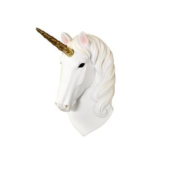 The Mini Luna | Mini Unicorn Head | Faux Taxidermy | Natural + Gold Resin