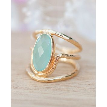 Olivia Ring * Aqua Chalcedony *Gold Plated 18k * BJR060