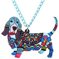 Basset Hound Dog Necklace Pendant Collar Chain