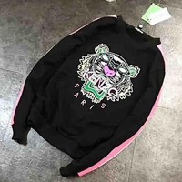 KENZO New fashion embroidery colorful tiger letter long sleeve top sweater women Black