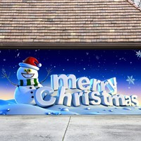 Christmas Garage Door Cover Banners 3d Merry Christmas Snowman Holiday Outside Decorations Outdoor Decor for Garage Door G81