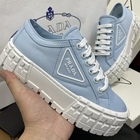 PRADA New Canvas Embroidered Letters Ladies Platform Casual Shoes Blue