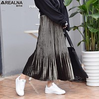 2017 Autumn harajuku Elastic waist women skirts saia vintage Gold velvet Winter skirts womens high waist pleated long skirt