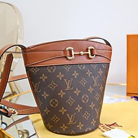 LV Louis Vuitton canvas women's shoulder bag