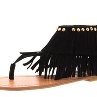 New Womens Dual Fringe Dress Sandals in Black, Brown, Fuchsia, Blue (7.5, Black)