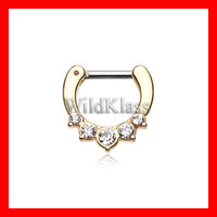 Gold Septum Clicker Ring Golden Multi Gem Precia Ring Cartilage Earrings Nipple Ring Circular Barbell Tragus Jewelry Helix Conch