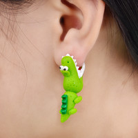 Handmade Polymer Clay Crocodile Dinosaur Stud Earring For Women Animal Earrings Fine Jewelry  Fashion Girl Earring 1 pair  4111