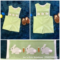 Spring Three Sisters Boy Easter Green Bunny Romper