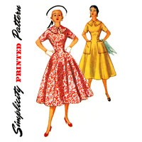 1950s Dress Pattern Bust 34 Simplicity 1000 Fit and Flare Full Skirt Princess Seam Dress for Day or Evening Womens Vintage Sewing Patterns