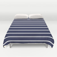 Navy White Stripe Pattern Duvet Cover by RexLambo