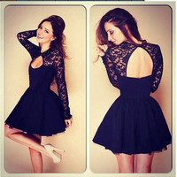 SIMPLE - Fashionable Lace Sexy Backless Long Sleeve One Piece Dress b162