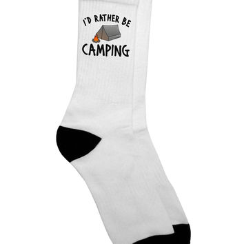I'd Rather Be Camping Adult Crew Socks