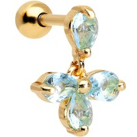 Gold Anodized Stainless Steel Blue CZ Tragus Cartilage Earring