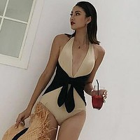 New sexy one-piece bikini black slim belly small chest gathered swimming women