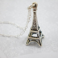Silver Eiffel Tower Charm Necklace, French Silver Charm, Sterling Silver Charm Necklace, Antique Silver Charm