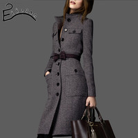 The new 2016 Europe and America big long coat women cultivate one's morality tweed wool coat thickness