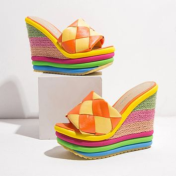 Summer new style sponge cake color matching straw woven wedge sandals slippers shoes