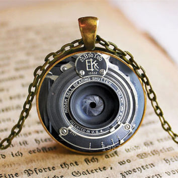 SALE CHEAPER Old camera vintage bronze lense lens canon necklace glass pendant