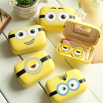 Minions Cartoon Contact Lens Case Women Metal Hard Contact Lenses Box For Men Cute Eyeglass Box Container Glasses Christmas Gift