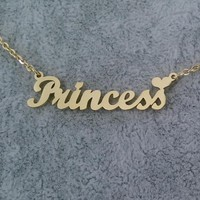 """Princess"" Heart Name Necklace"