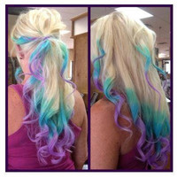 T H I C K Full Set/Pink/Blue/Purple/Turquoise Extension /Tips Dip Dyed/Weft Clip Extensions - Ombre -14-16 Inches Long /