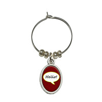 Hello Comic Talk Bubble Wine Glass Charm