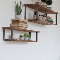 Set Of 2 Recycled Wood & Metal Shelves