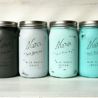 Ombre and Beach Aqua and Grey Wedding Centerpieces / Painted Mason Jars / Home Decor / Decoration / Vase