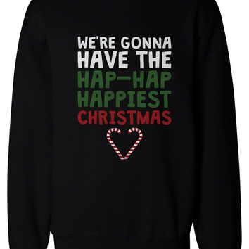 Hap-Hap Happiest Christmas Heart Candy Cane Sweatshirts Holiday Pullover Fleece