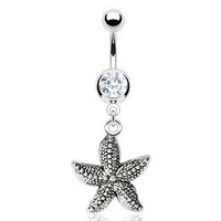 Belly Ring with Round Cubic Zarconia and Star Fish Charm