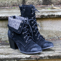 Winding Road Distressed Black Fold Over Lace Up Heeled Ankle Booties