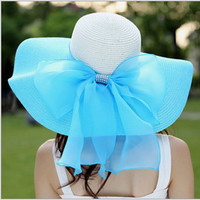 Women's beach sun hats Cap 2016 Summer New Fashion Foldable Floppy Sun Hats Casual Ladies sombreros bowknot straw hat For Girls