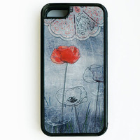 Poppy iPhone 5c case, drawing flowers iPhone 5c cover, unique, lovely, red flower