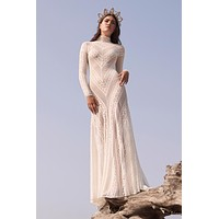 Willowby by Watters Russell 54115 Boho Lace High Neck Long Sleeve Fit & Flare Wedding Dress