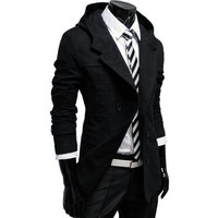 ALM TheLees Mens casual double slim cotton hood trench coat